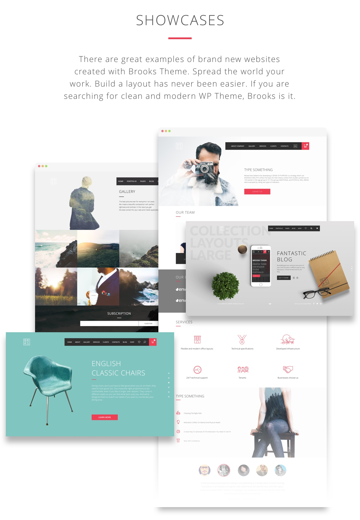 Showcases: there are great examples of brand new websites created with Brooks theme