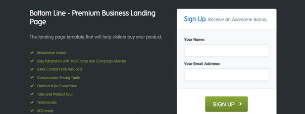Bottom Line - The Sign-up Form Page Template