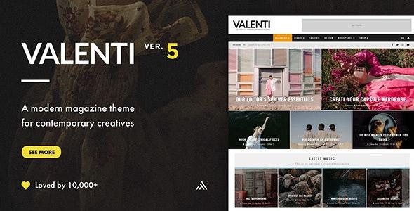 Valenti - Modern WordPress magazine theme for newspaper news sites in 2021