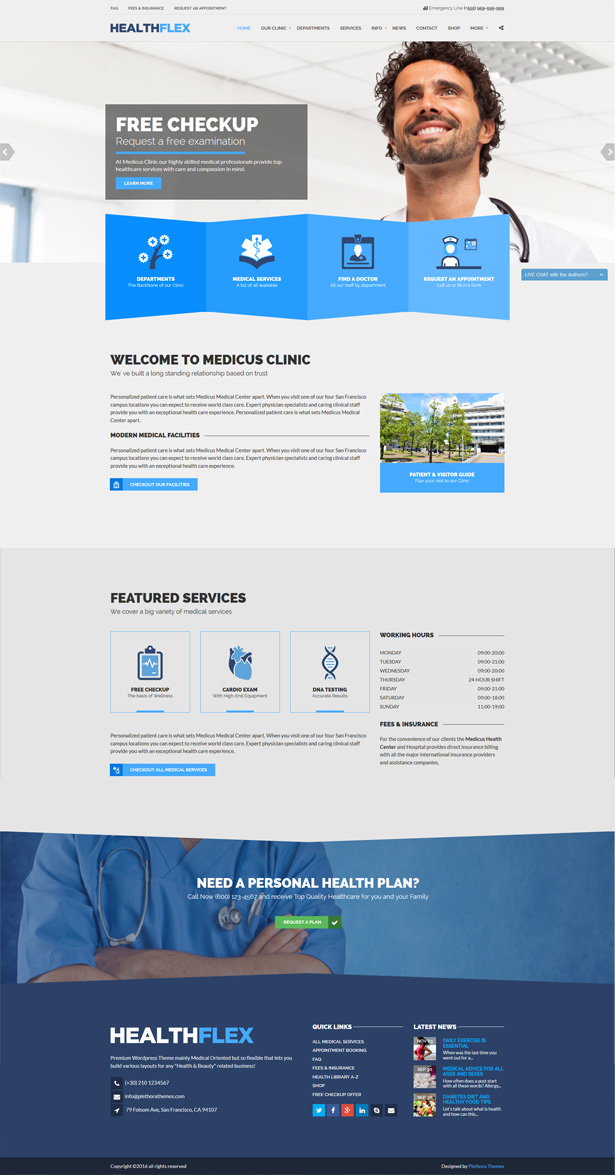 HEALTHFLEX Medical Health WordPress Theme by plethorathemes ...
