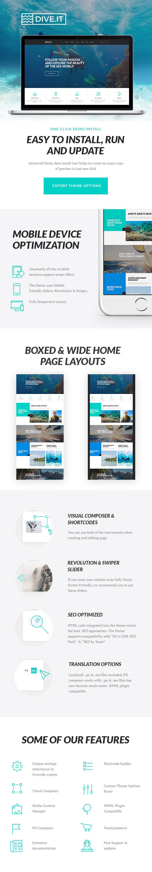 Scuba Diving School WordPress Theme features