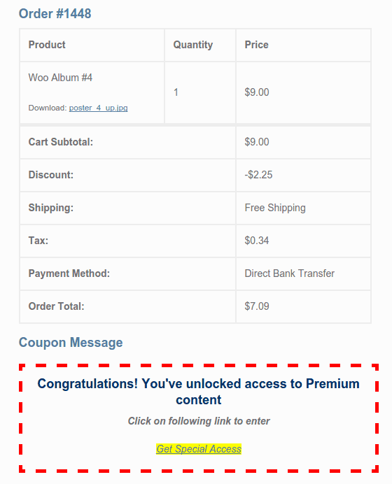 Coupon message in order confirmation email