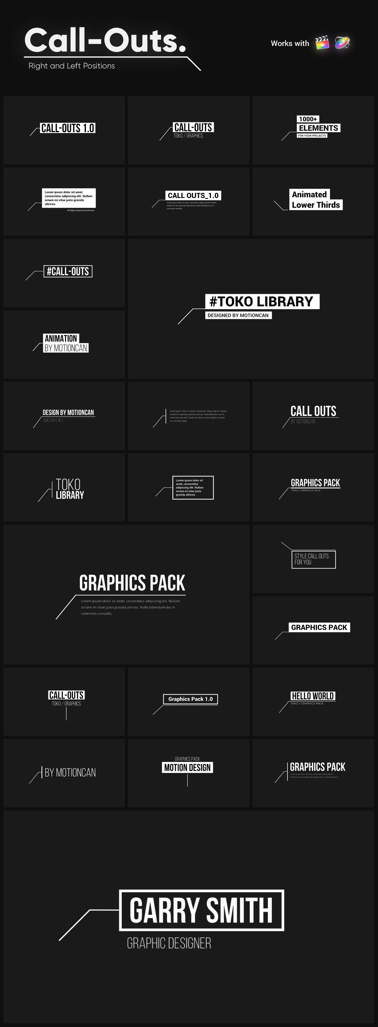 FCPX插件-1250多个商业栏目包装文本标题排版视频无缝过渡转场图形元素动画工具包 Graphics Pack – Final Cut Pro X & Apple Motion插图12