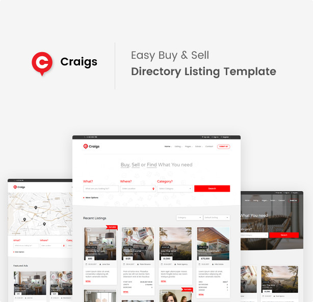 A Fully Featured Directory Listing Style HTML Template For Creating Stunning And Slick Listings Websites