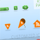 Glossy web 2.0 RSS button pack - 7