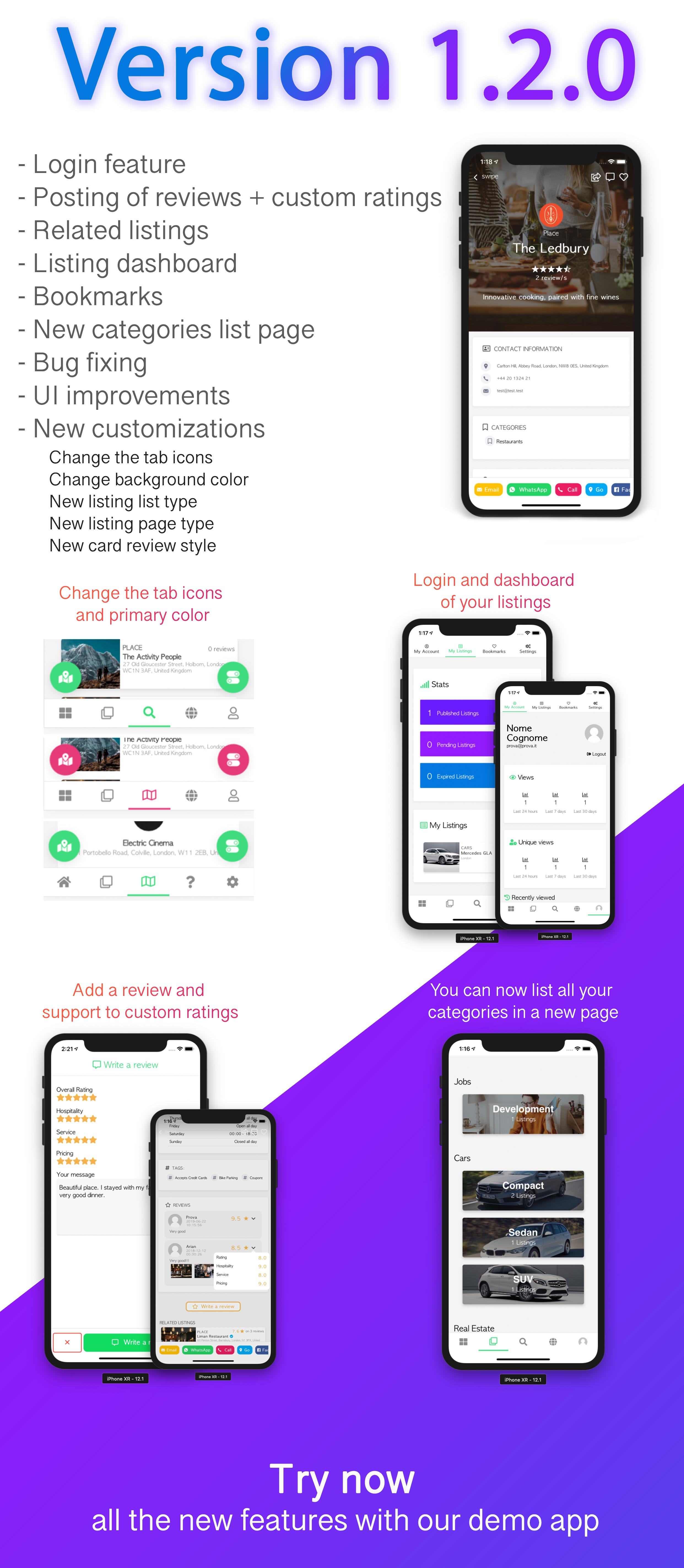 Custom Listing App - Android and iOS Ionic 4 directory mobile app  compatible with MyListing Theme