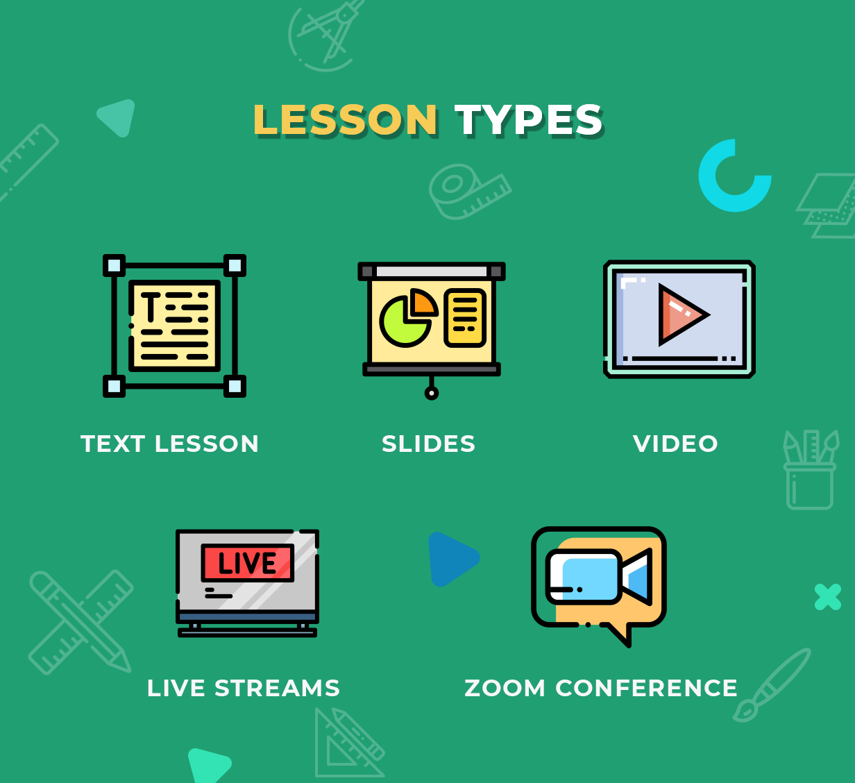 Education WordPress Theme - Lesson Types