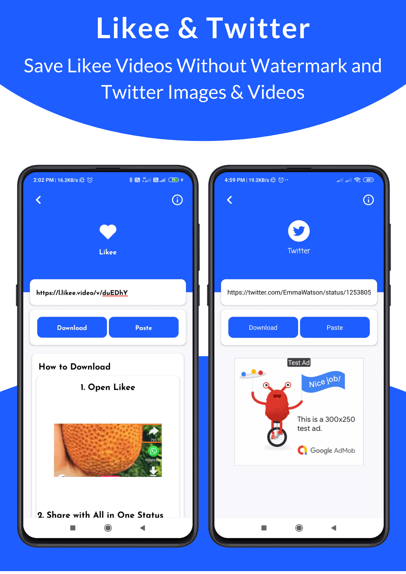 All in One Status Saver - Likee, Whatsapp, FB, Instagram, TikTok, Twitter + Admob & Facebook Ads - 13