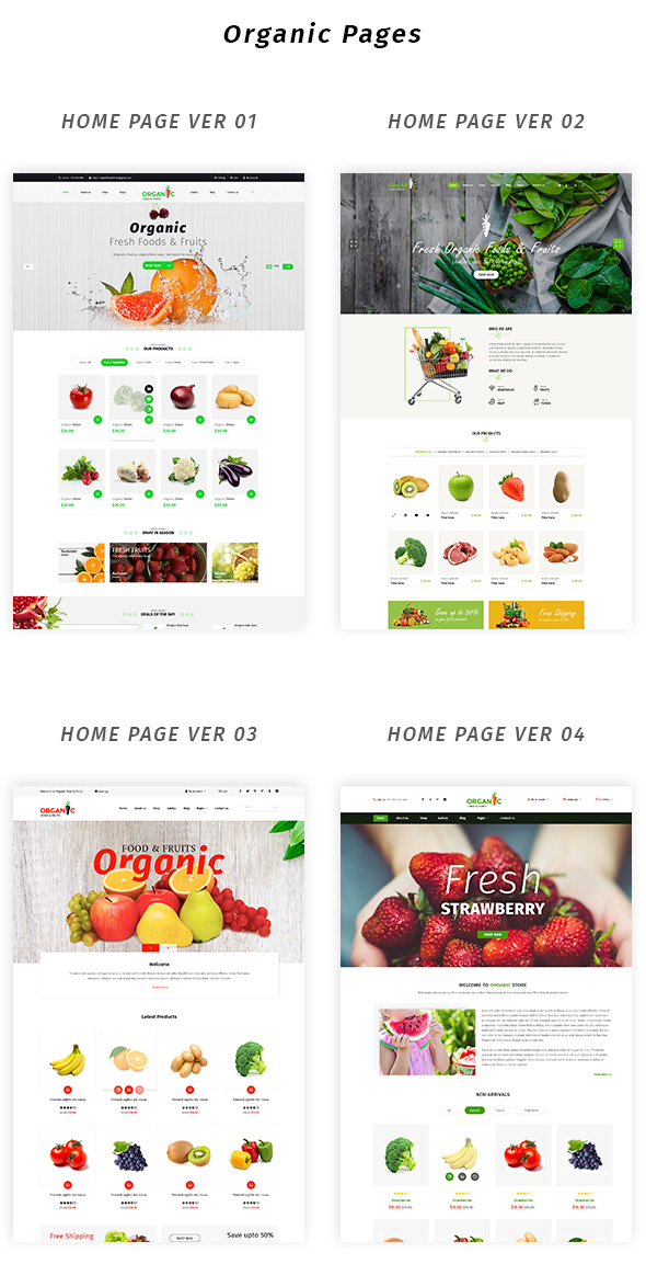 Organic Foods and Fruits PSD Template - 2