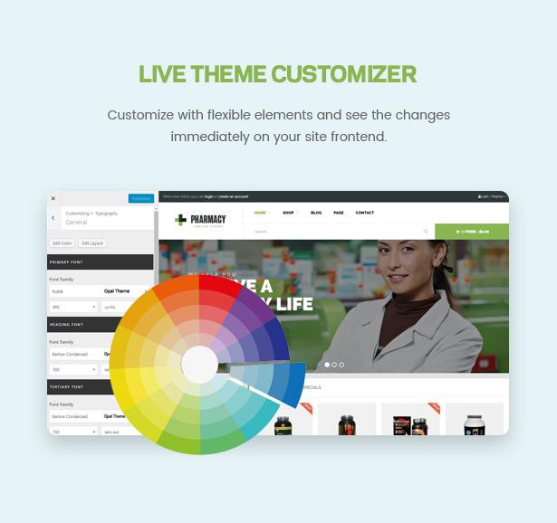 Canlı Tema Özelleştirici Eczane WooCommerce WordPress Duyarlı Tema