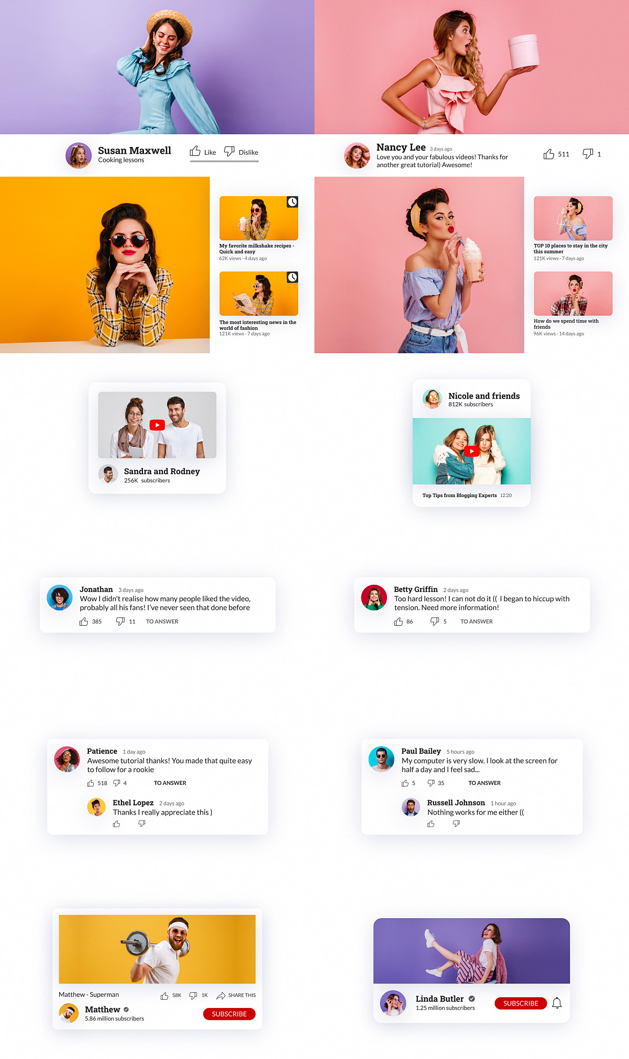 YouTube Buttons Pack - 10