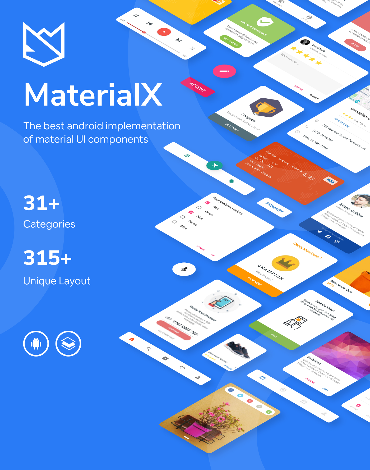 MaterialX - Android Material Design UI Components 2.7 - 4
