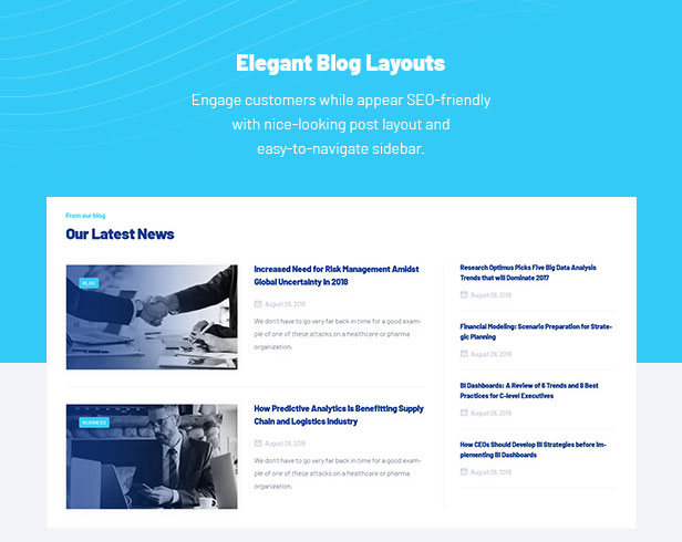 Business Research Services WordPress Theme - Blog Layouts