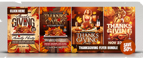 thanksgiving party flyer template 2 by 1gine graphicriver