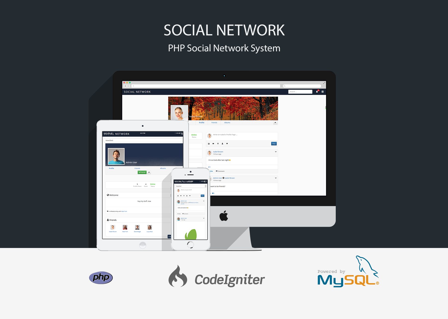 Social network php social networking system by for Social networking sites templates php