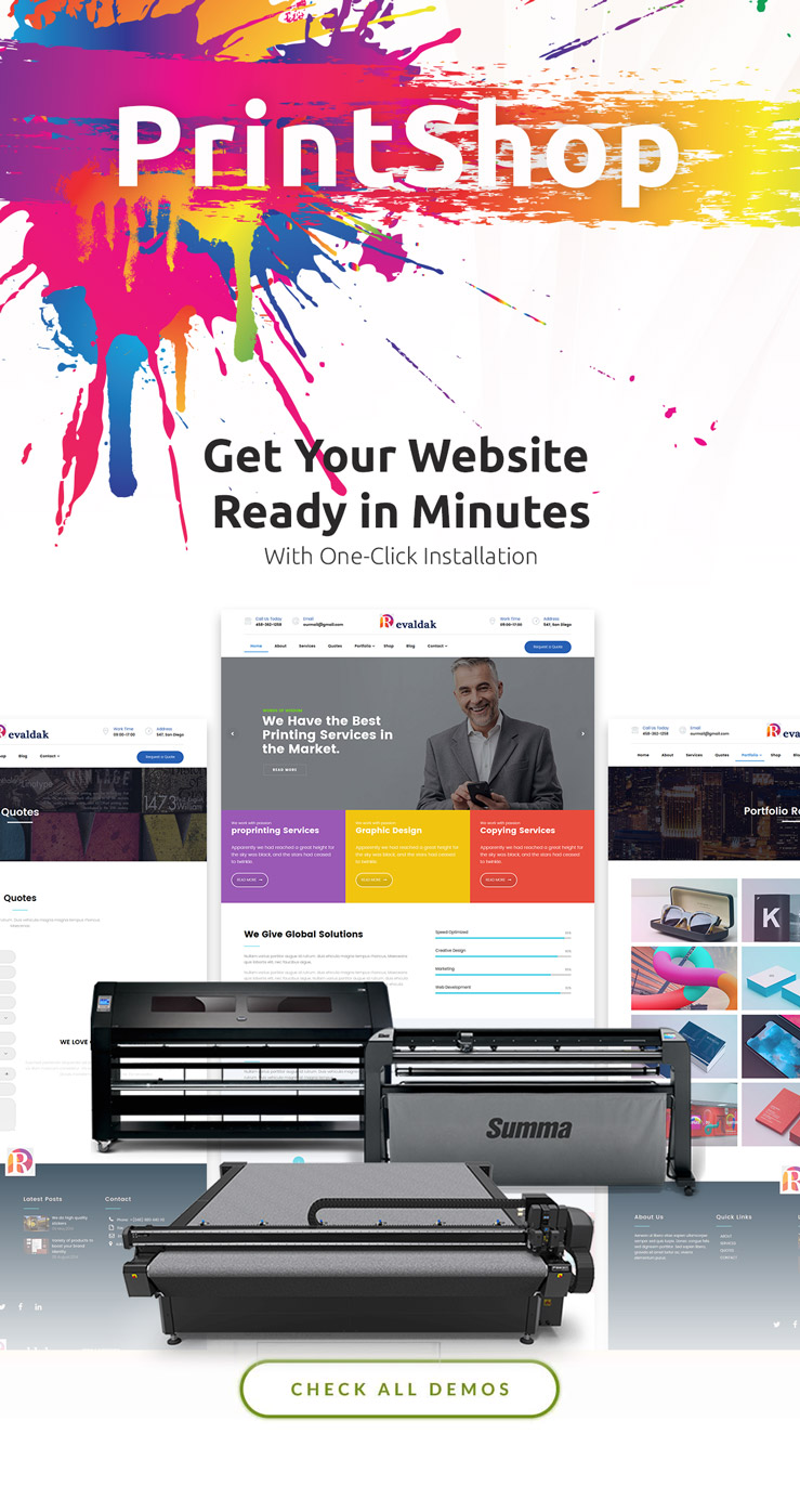 revaldak printshop graphic design services wordpress theme by mymoun