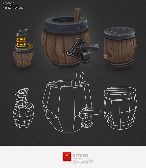 Low Poly Barrels