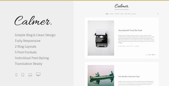 Calmer - Responsive Personal Blog Theme