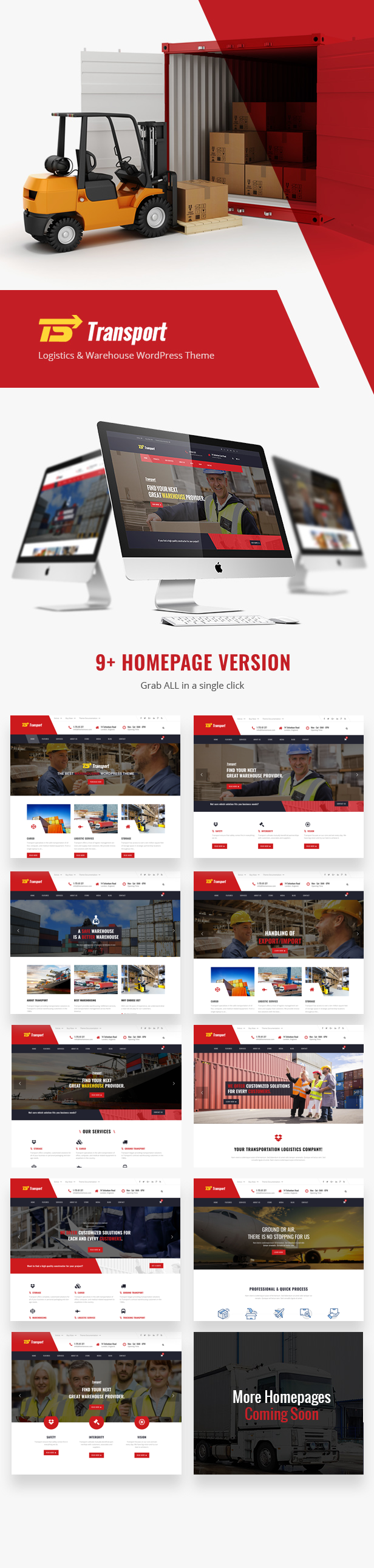Transport Logistic and Warehouse WordPress Theme - 9 Homepages