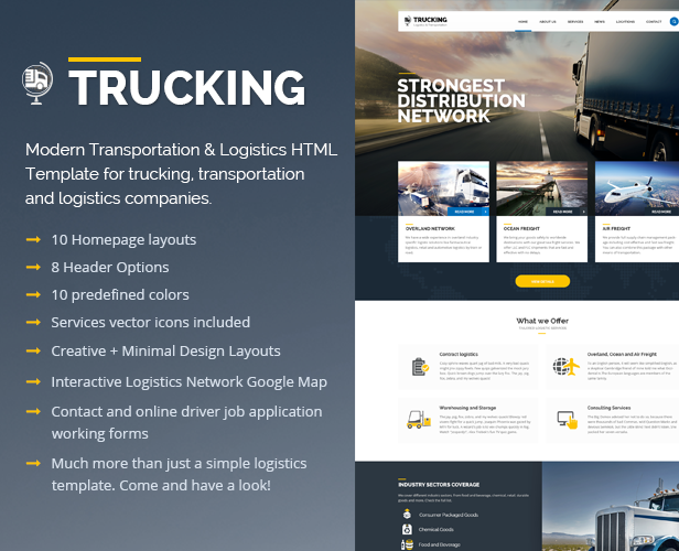 trucking transportation and logistics website template