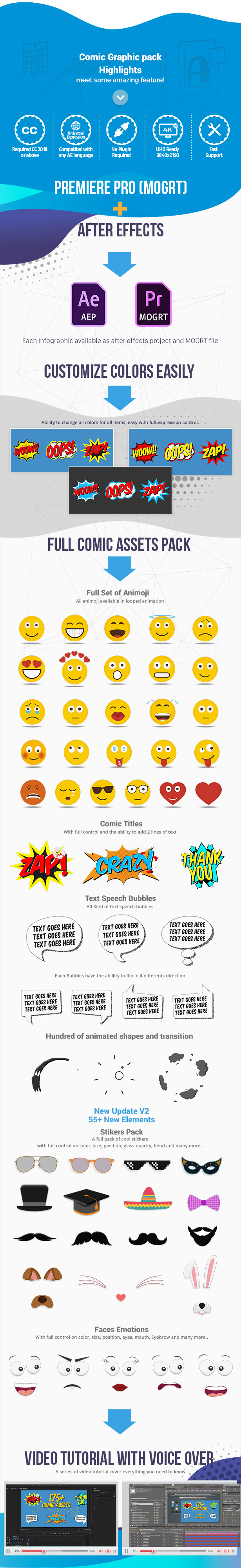 Comic Titles - Speech Bubbles - Emoji - Stickers - Flash FX Graphic Pack - 3