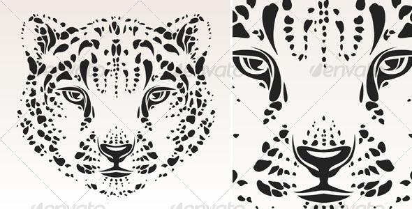 snow leopard head tribal tattoo