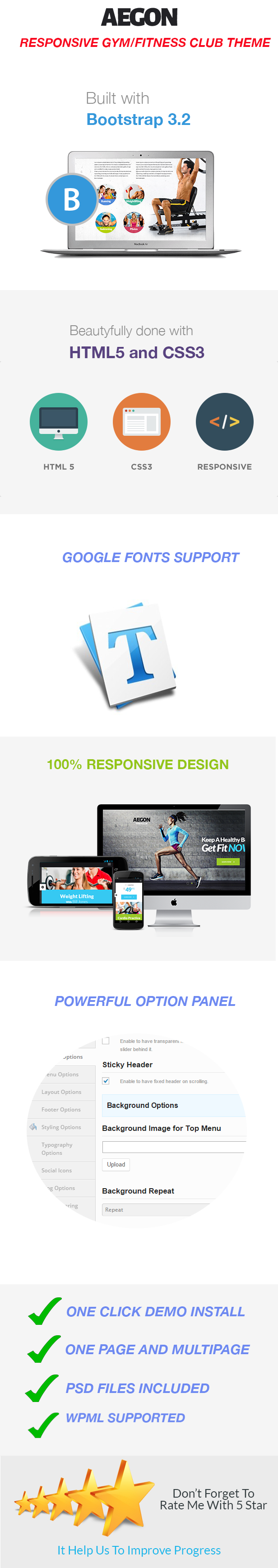 Background image 100 responsive - Main Features