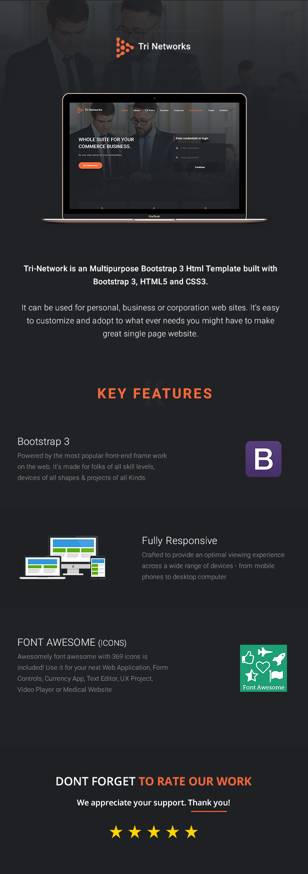 Tri Network - Multipurpose Bootstrap 3 Html Template by Design_Gurus