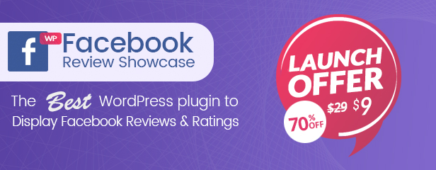 WP Facebook Review Showcase Sales Launch 70% Discount