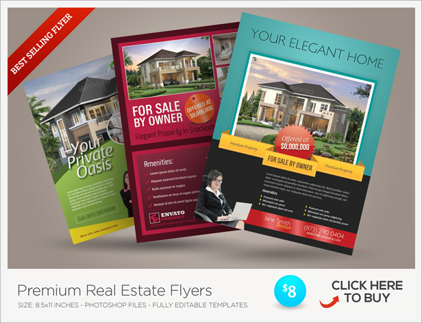 Real Estate Open House Flyers by kinzi21 GraphicRiver