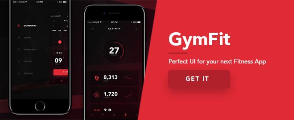 GymFit - Mobile App UI Kit Design