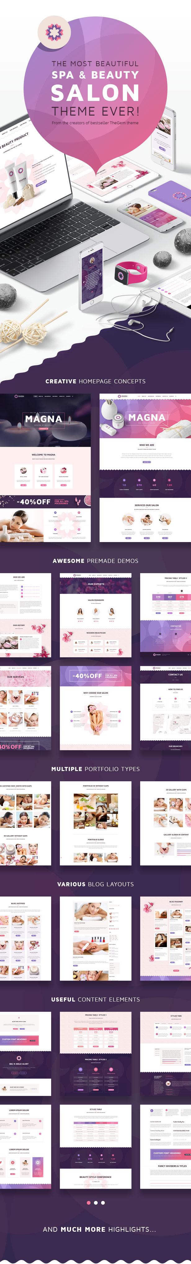 Magna - Spa Beauty Salon, Beauty & Spa, Health & Wellness WordPress Theme - 1