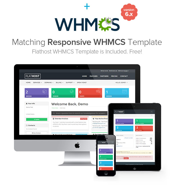 FlatHost Responsive Hosting Template with WHMCS - 2