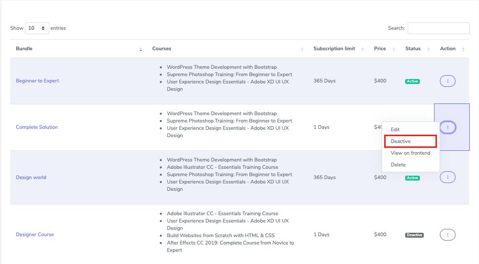 Academy LMS Course Bundle Subscription Addon - 6
