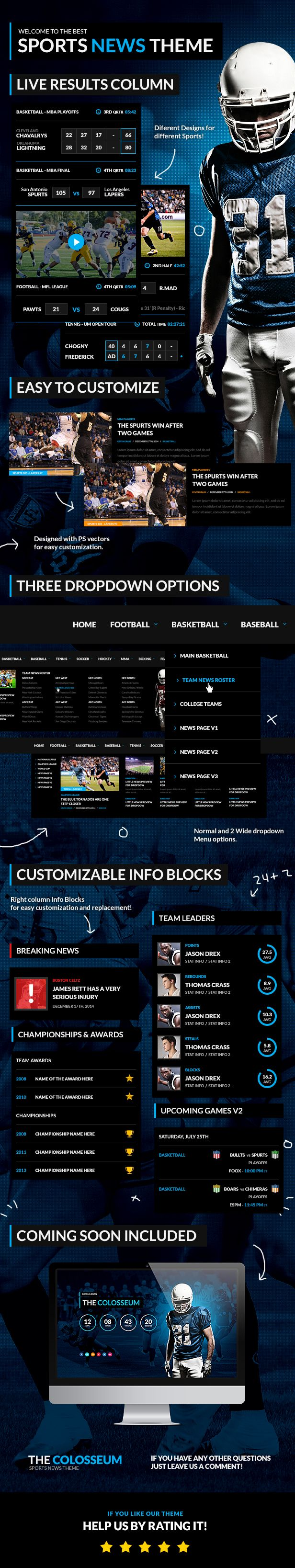 The Colosseum - Sports Magazine PSD Template - 6