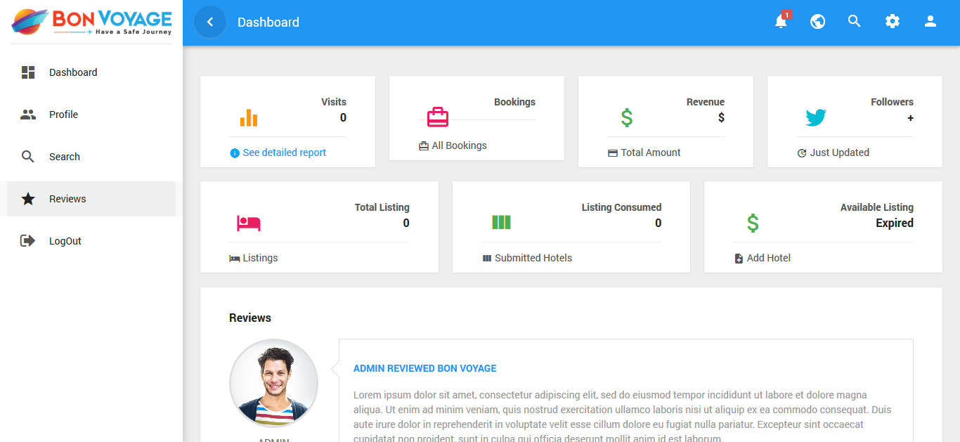 Customer Reviews and feedback shown in customize user panel