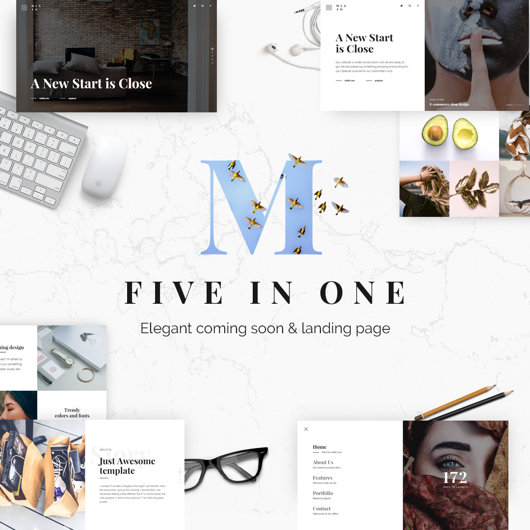Mixio - Five in One Elegant Coming Soon and Landing Page Template