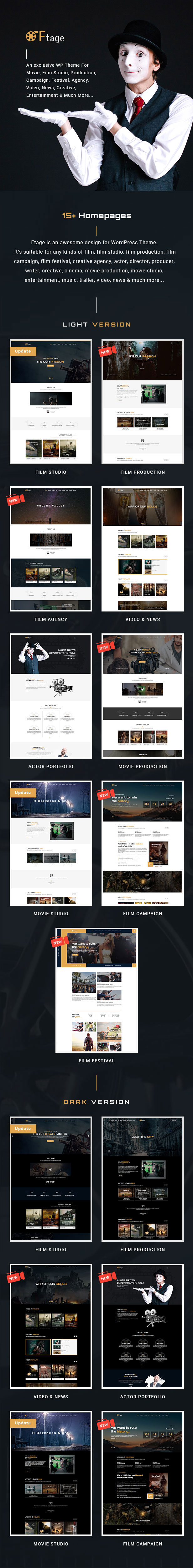 Movie Production & Film Studio WordPress Theme - Ftage - 1