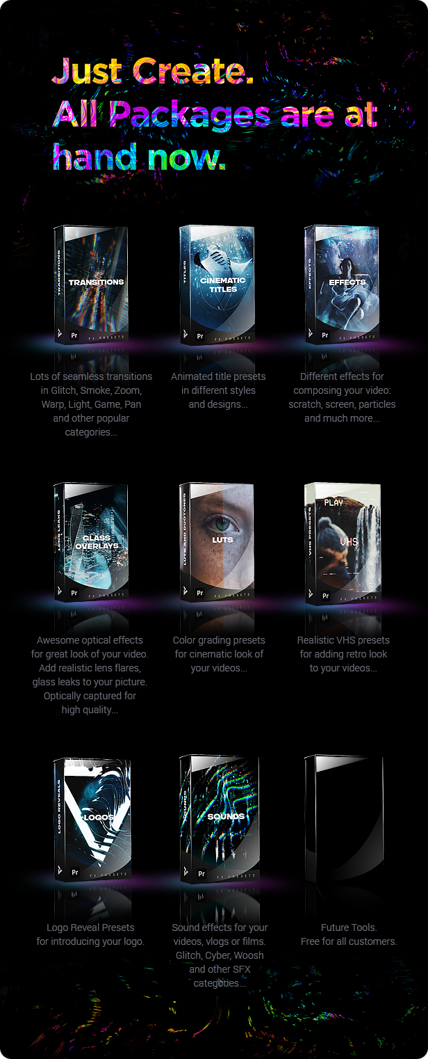 Pr模板-1500+蒙太奇VHS文字标题LUTS背景动画效果音效转场预设包V8