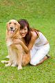 Pretty asian woman with dog - PhotoDune Item for Sale