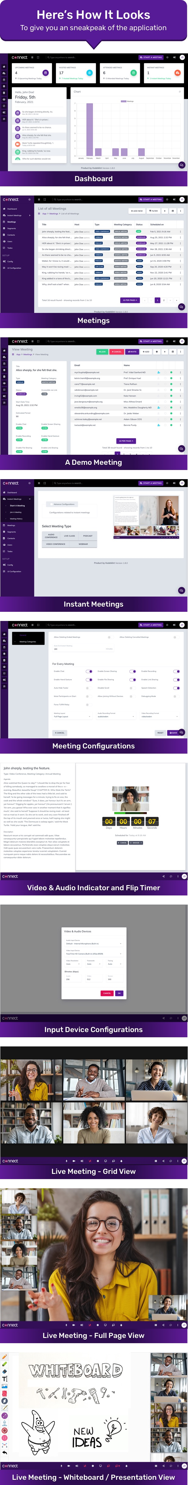 Connect - How UI looks - Video Conference, Webinar, Live Class, Audio Conference, Podcast