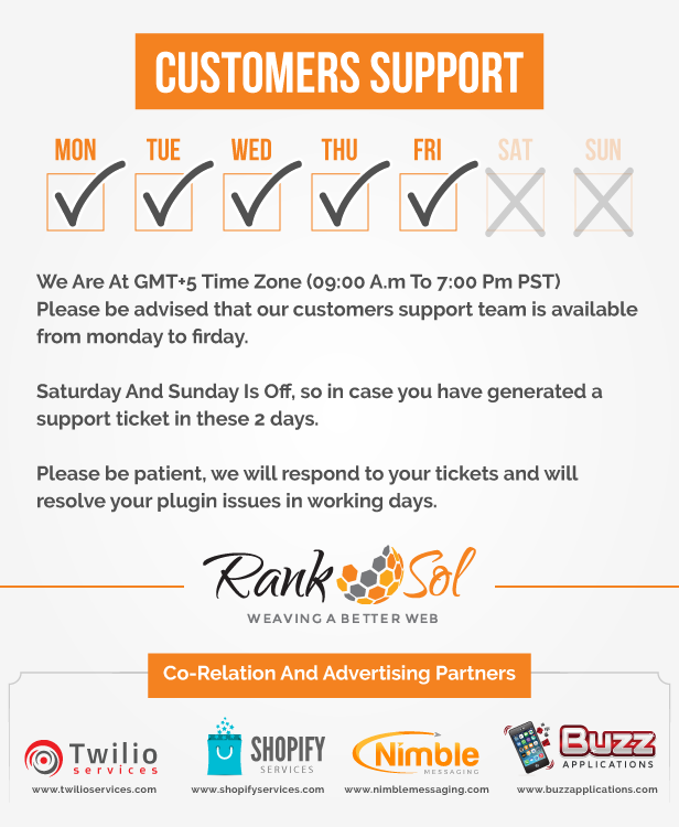Ranksol  We highly appreciate customers feedback and therefore our customer support team Is Live And Active 24/7