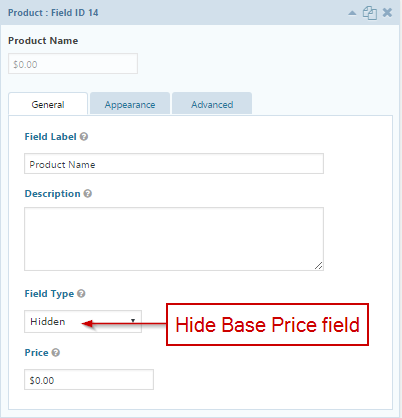 Hide Base Price field
