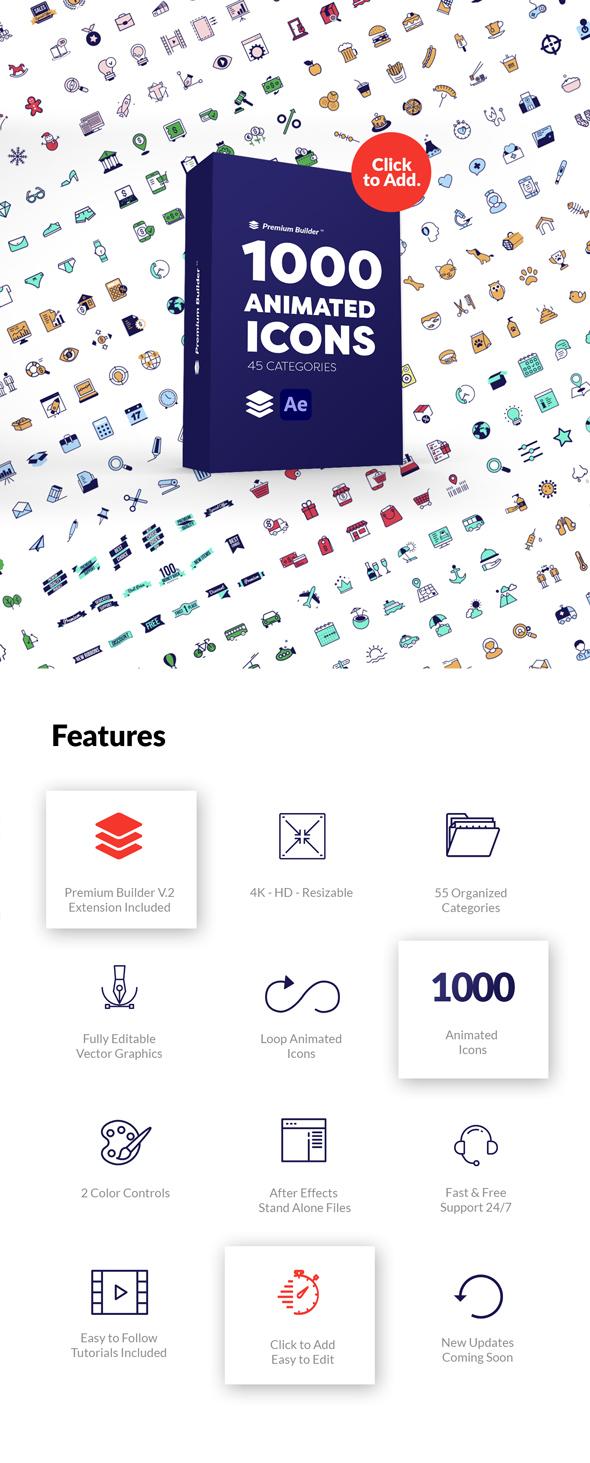AE脚本-PremiumBuilder Animated Icons 1000个电子商务社交媒体扁平化金融建筑教育医疗儿童表情符号图标动画大合集更新 V3插图2