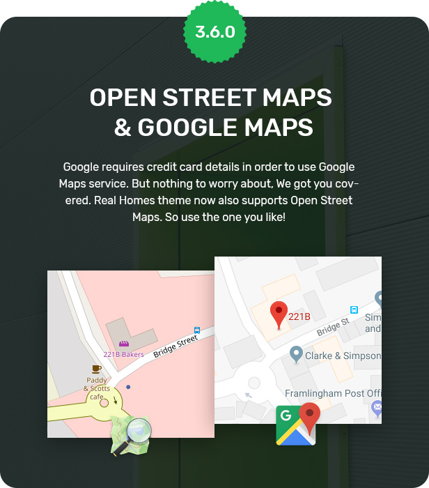Open Street Map and Google Maps Support
