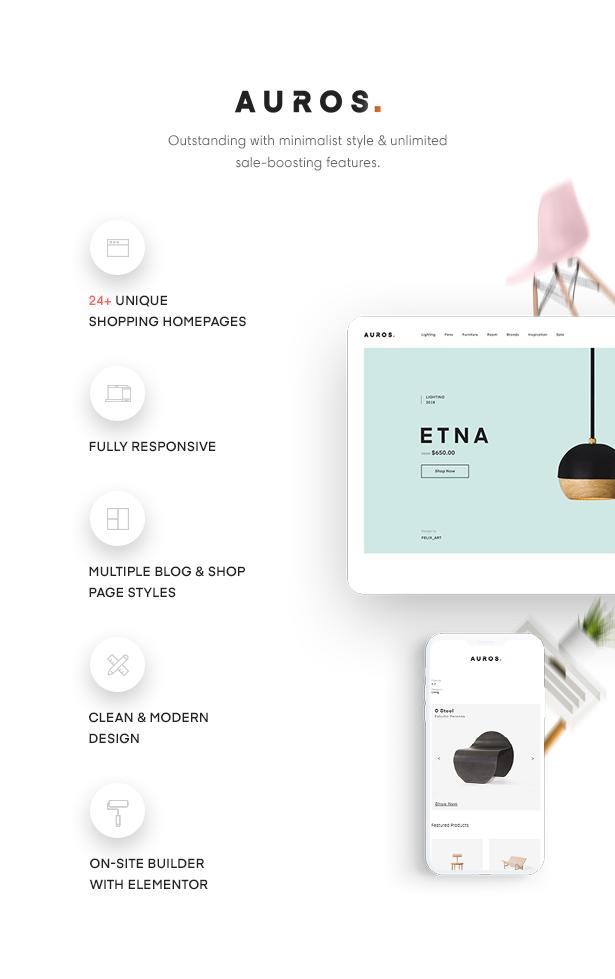 Nội thất tối giản và hiện đại của Auros Chủ đề mua sắm WordPress