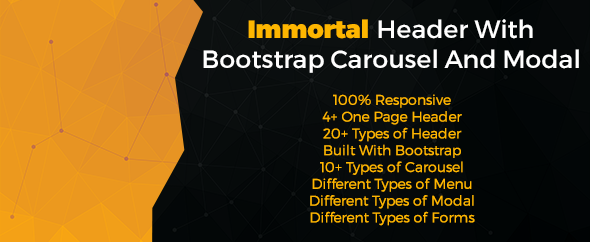 Immortal Header With Bootstrap Carousel And Modal