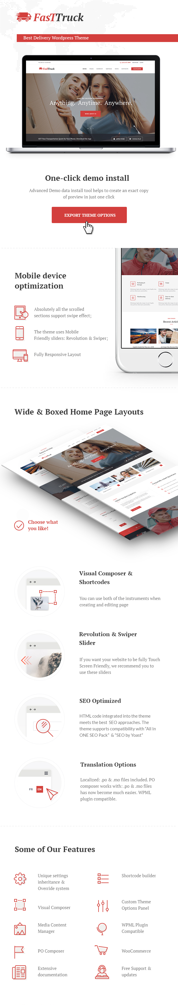 Fast truck is a trendy wordpress theme with premium business design ideal for logistics trucking warehousing transportation and freight services