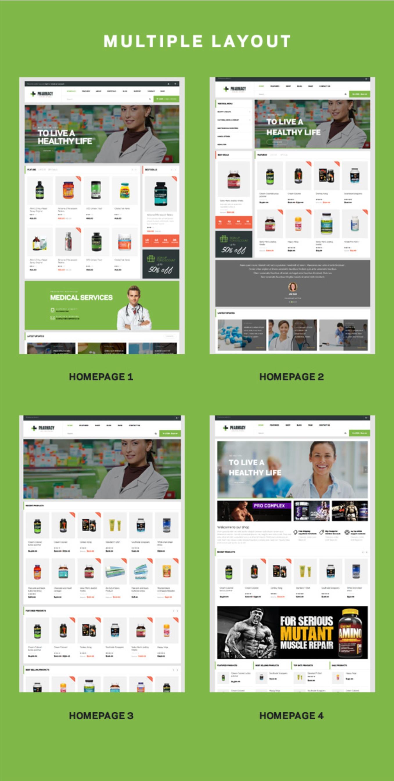 4+ Anasayfa Demolar Eczane Duyarlı Tıp ve Sağlık WordPress Teması