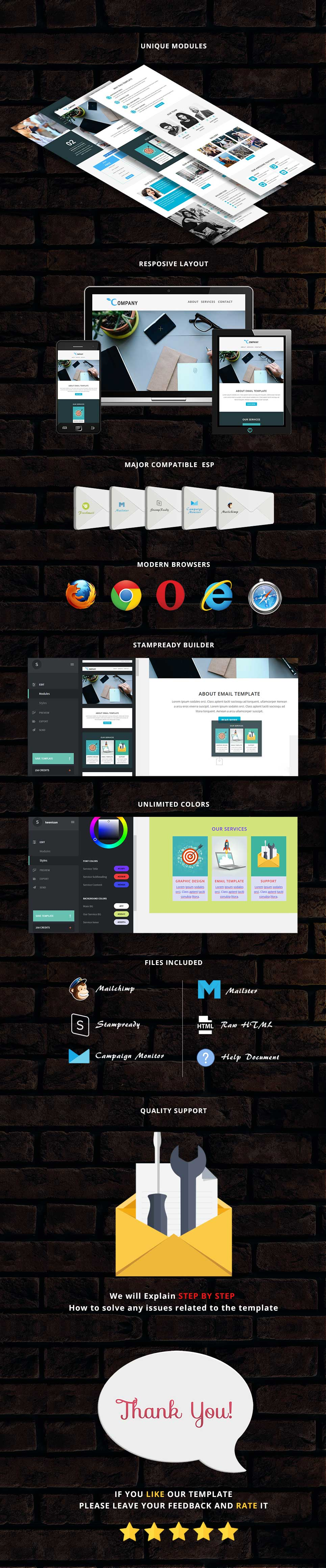 Company - Responsive Email Template + Stampready Builder